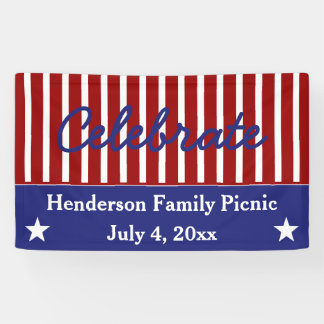 Red White and Blue Stars and Stripes Personalized Banner
