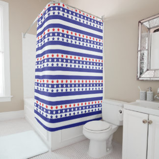 Red, White and Blue Stars and Stripes Shower Curtain