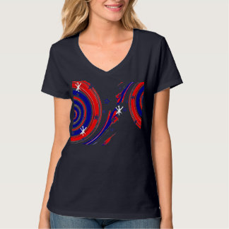 Red White and Blue Stars and Swirling Stripes T-Shirt