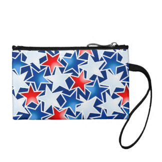 Red white and blue stars coin purse