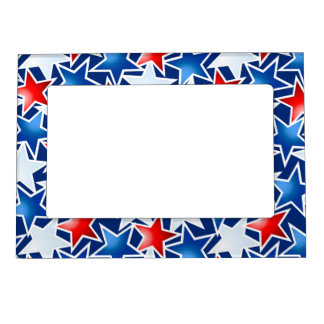 Red white and blue stars magnetic picture frame