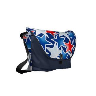 Red white and blue stars messenger bag