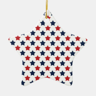 Red, White, and Blue Stars Pattern Ceramic Star Decoration