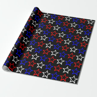 Red White and Blue Stars Pattern Wrapping Paper