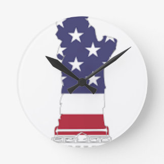 Red White And Blue Statue Of Liberty Round Clock