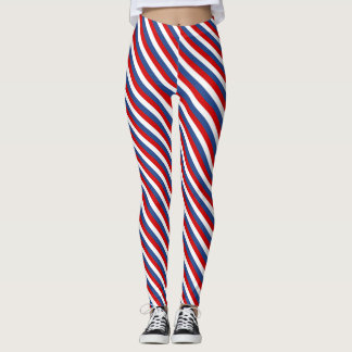 Red white and blue striped leggings