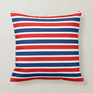 Red White and Blue Striped Pillow