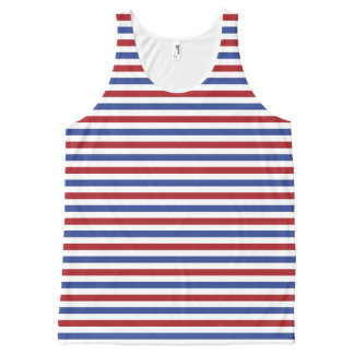 Red White and Blue Stripes All-Over Print Singlet