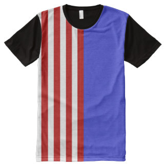 red white and blue stripes All-Over print T-Shirt