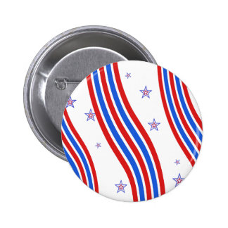 Red White and Blue Stripes and Star 6 Cm Round Badge