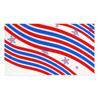 Red White and Blue Stripes and Star Business Cards