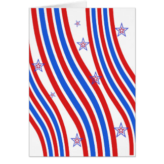 Red White and Blue Stripes and Star Card
