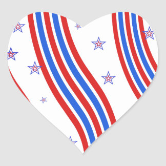 Red White and Blue Stripes and Star Heart Sticker