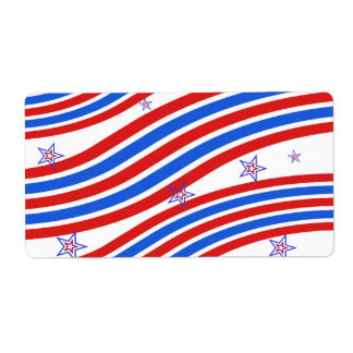Red White and Blue Stripes and Star Shipping Label