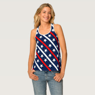 Red white and blue stripes and stars background singlet