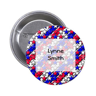 Red White and Blue Stripes and Stars Name button