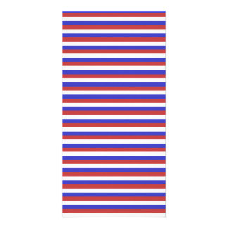 Red White and Blue Stripes Custom Photo Card