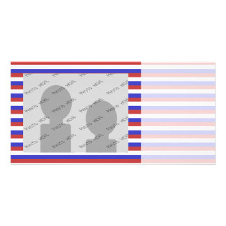 Red White and Blue Stripes Customized Photo Card