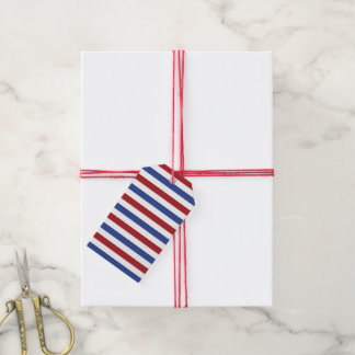 Red White and Blue Stripes Gift Tags