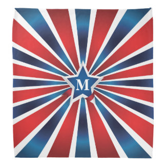 Red White and Blue Stripes Monogram Bandana