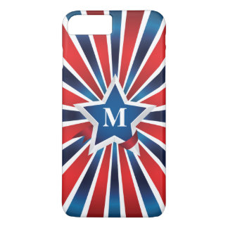 Red White and Blue Stripes Monogram iPhone 7 Plus Case