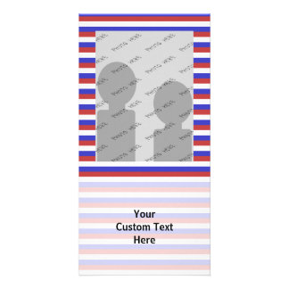Red, White and Blue Stripes. Photo Card Template