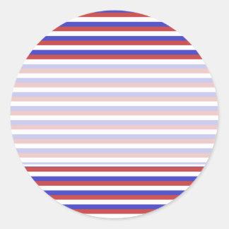 Red, White and Blue Stripes. Round Sticker