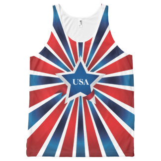 Red White and Blue Stripes USA All-Over Print Tank Top