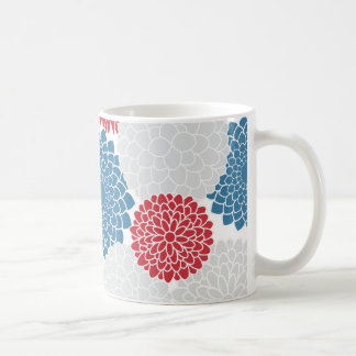 Red White and Blue Summer Flowers Coffee Mug