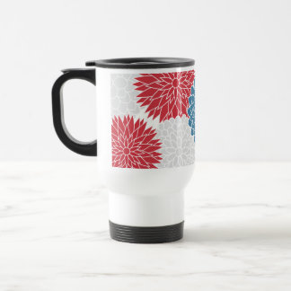 Red White and Blue Summer Flowers Mug