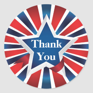 Red White and Blue Sunburst Thank You Classic Round Sticker