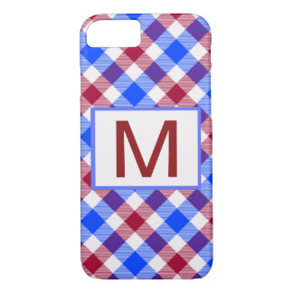 Red, White and Blue Tartan Check iPhone 8/7 Case