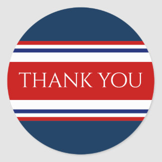 Red White and Blue Thank You Round Sticker