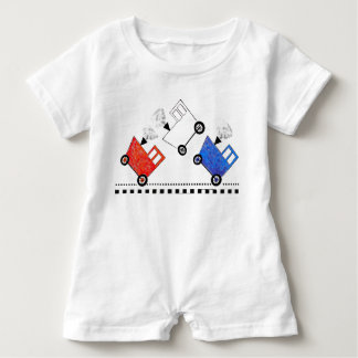 Red White and Blue Train Caboose Baby Bodysuit