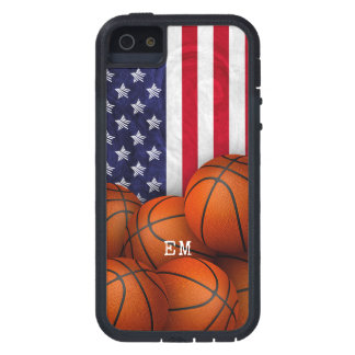 Red white and blue USA flag with basketballs iPhone 5 Cover