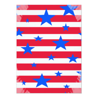 Red White and Blue USA Stars and Stripes 14 Cm X 19 Cm Invitation Card