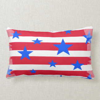 Red White and Blue USA Stars and Stripes Lumbar Pillow