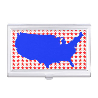 Red White and Blue USA United States of America Business Card Holder