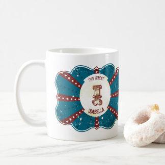 "Red White and Blue Vintage Circus Monogram ""I"" Coffee Mug"