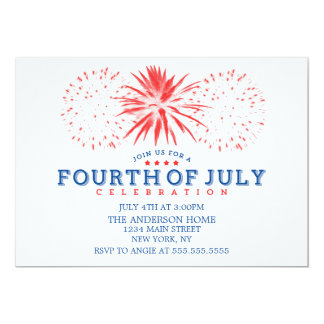 Red White and Blue Vintage Fireworks 4th of July Card