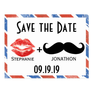 Red White and Blue Vintage Save the Date Postcard