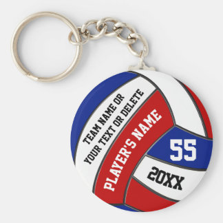 Red White and Blue Volleyball Keychains, Your Text Key Ring