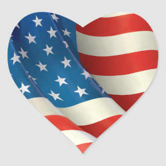 Red White and Blue Waving U.S. Flag Heart Sticker