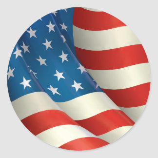 Red White and Blue Waving U.S. Flag Round Sticker