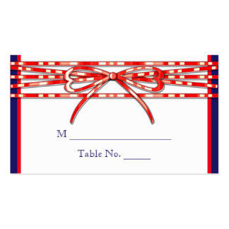 Red White and Blue Wedding Place Cards Business Card Templates