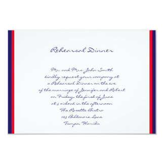 Red White and Blue Wedding Rehearsal Card