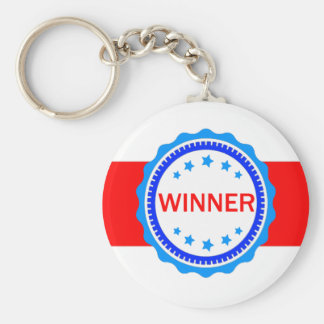 Red, White and Blue Winner Ribbon Basic Round Button Key Ring