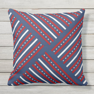 Red white and blue with stars pattern cushion