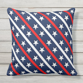 Red white and blue with stars pattern outdoor cushion