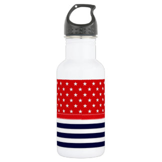 Red White and Blue with White Stars & Stripes 532 Ml Water Bottle